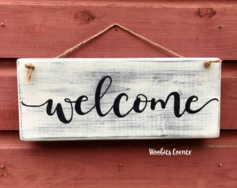 Welcome sign, Rustic home decor, Entry way sign, Front porch sign, Wood welcome sign, French country decor, Wood sign, Entryway decor