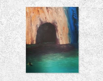 To live cave painting on canvas landscape art with turquoise color  of the sea for hanging- acrylic painting