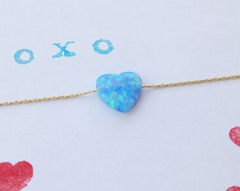 Opal necklace, heart necklace, gold necklace, opal heart necklace, heart necklace,opal necklace,glistening opal,blue opal necklace,gift -009
