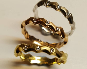 Hand Made 18ct Gold Diamond Set Wedding Rings, Red White or Yellow gold Wedding Band