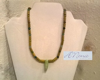 "Men's Necklace :Aventurine, Jasper, Quartzite ,Wood  and Brass Toggle Closure  ""Abundance"""