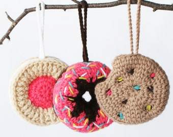"""DIY Crochet PATTERN - Sweet Treats Ornament Collection - 4"""" diameter Donut, Chocolate Chip Cookie, and Fruit Creme Cookie (2015029)"""