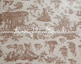 Historic Scenic Toile- Vintage Fabric 50s 60s 35 in wide Ships Settlers History