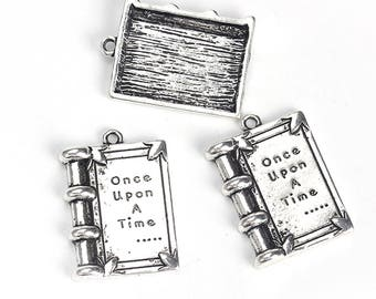 """10 Antique Silver Metal Alloy """"Once Upon A Time"""" Book Charms 17x12mm (B287b)"""