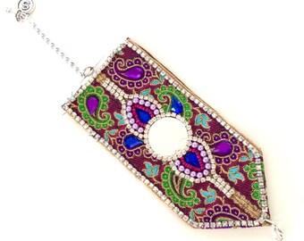 Ethnic bracelet, Wide bracelet, Folk art jewelry, Colorful bracelet, Boho bracelet, Boho chic jewelry, Fabric bracelet, Unusual jewelry