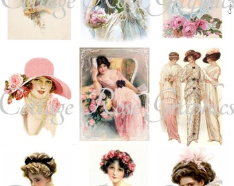 9 Victorian Ladies fashions Large digital download Multiple image collage ATC ACEO ECS pink buy 3 get one free
