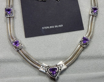 SMITHSONIAN Genuine AMETHYST and Sterling Silver Necklace Earrings Set    OCA37