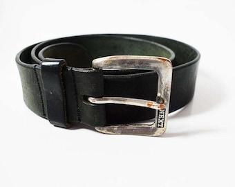 Next Mens Vintage Leather Belt Black