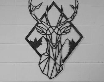 Geometric Stag wall art