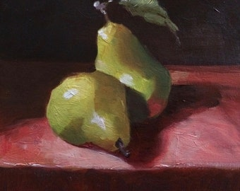 original oil painting canvas pears pears painting paintings pears art green kitchen artwork art gift ideas gift art work