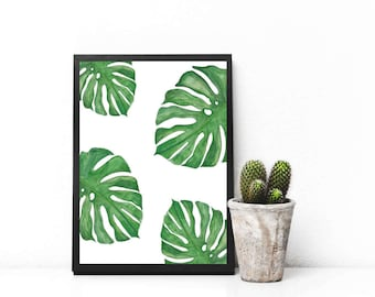 Hand painted Watercolour Monstera leaf print
