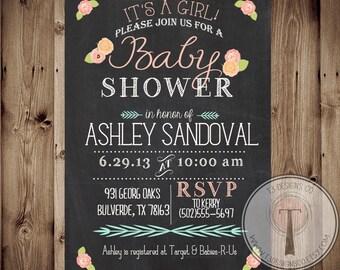 Baby Shower Invitation, BABY GIRL, Floral, Shabby Chic, Baby Shower,invite, Invitation, chalk, chalkboard, 1094