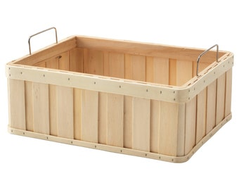 Natural Wood Storage Basket with Handles. Useful for Room to Help Organize Your Clutter.
