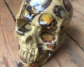 Human Skull Ornament decoupaged with more skulls! Unique home decor//Gift for him or her//Unusual present