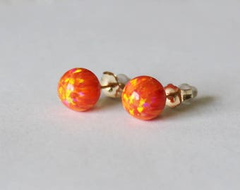 6mm, 8mm Orange fire opal stud earrings, 14K gold fill opal studs, Mexican opal earrings, Gold opal earrings, Summer, Orange opal earrings