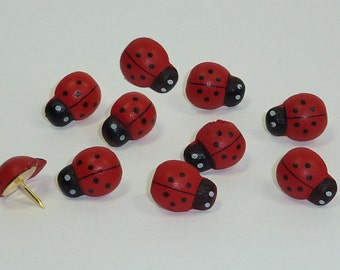 Decorative Push Pins, Ladybird Drawing Pins, Cork Board Pins, Thumbtacks, Pin Board Pins, Ladybug Push Pins, Teacher Gift