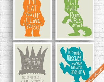 Where the Wild Things Are Inspired Quotes - Set of 4 Art Print (Unframed) (Carrot, Green, Gravel, Ocean on Fog) Peter Pan Prints