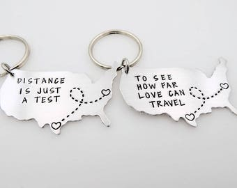 Matching Map Set Long distance love relationship LDRSHIP jewelry keychain going away gift for her him living away living apart matching set