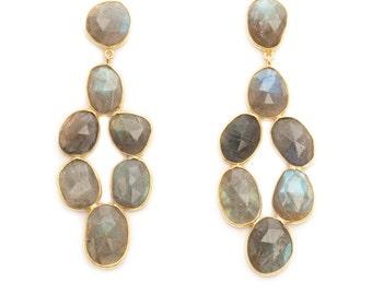 Gray Labradorite Chandelier Earrings