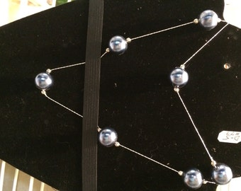 gunmetal blue necklace