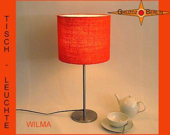Table lamp of orange burlap WILMA orange jute lamp