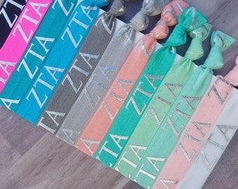 ZETA TAU ALPHA Letters Hair Tie Package | 12 Hair Ties