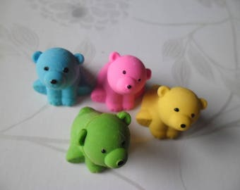 x 4 mixed multicolor bears fancy erasers