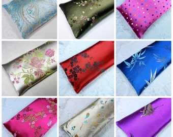 """Extra Long Eye Pillow Satin Flax Seed 10""""x4"""", Yoga Eye Pillow, and your choice of Lavender or Unscented"""