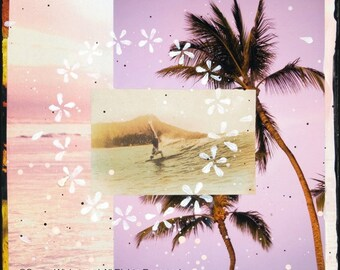WAIKIKI GLIDE, Giclee, 8x8 and Up, Hand Signed, Surfing, Vintage, Rustic, Surf Art, Hawaiian Art, Plumeria, Hawaii, Diamond Head