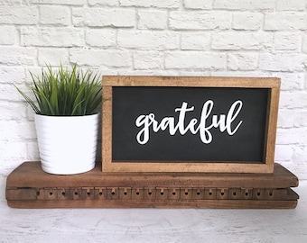 Grateful Hand Painted Wood Sign