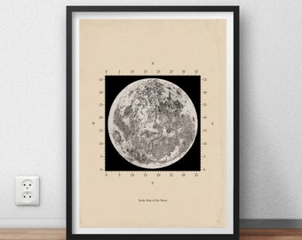 Scale Map of the moon Astronomy Print Recovered Vintage Image to Frame