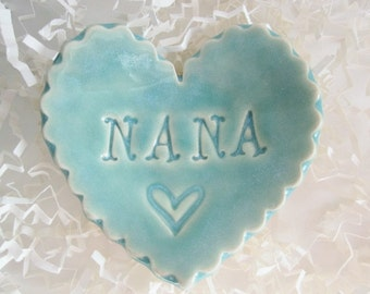 Best Nana gift, unique Mothers day gift, heart ring holder, heart ring dish,