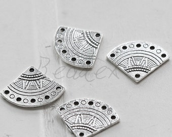 20 Pieces / Fan / Charm / Oxidized Silver / Base Metal (X7974//C756)