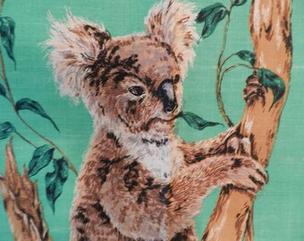 Koala Bear Australian Native Animal 1970's Vintage Unused Linen Tea Towel Dishcloth