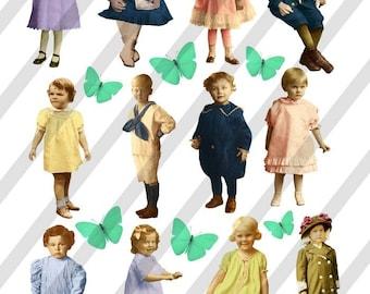 Digital Collage Sheet Vintage Children (Sheet no. F21) Instant Download