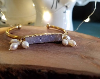 Brass,Druzy and Freshwater Pearl Cuff