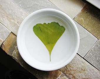 Gingko Leaf Dish, Real Nature Dish, Pressed Flowers Dish, Plant Botanical Gift, Naturalist Gift, Ceramic Ring Dish, Rustic Wedding Tray