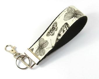 BUTTERFLY faric key chain, Butterfly key fob, Butterfly wristlet, Fabric butterfrly wristlet, Black butterfly keychain