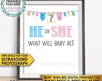 "Gender Reveal Sign, He or She What Will Baby Be Gender Reveal Party, Ultrasound Sign, Pink or Blue, Boy or Girl, PRINTABLE 8x10"" Sign <ID>"