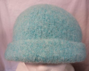 Hat Wool Felted Green Mint with Rolled Brim