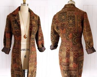 Vintage Earth tone Tapestry Blazer Jacket