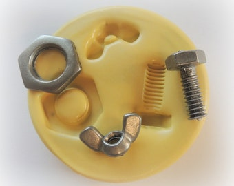 Nuts and Bolts Silicone Mold Fondant Tool Mold Silicone Wing Nut Mold Resin Polymer Clay Soap Embed Molds