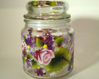 Hand Painted Glass Comfort Jar With Roses and Daisies