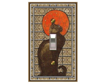 0644a Art Nouveau Cat - mrs butler switch plate covers - choose sizes / prices from drop down box