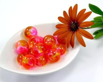 European beads 12 mm glass translucent fuchsia orange set of 2