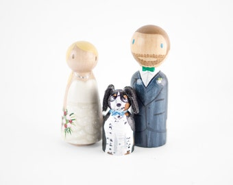 Dog Wedding Cake Topper, Bride Groom with dog, Rustic cake topper with dog, Dog cake topper, Handpainted Cake Topper with Dog, Peg topper