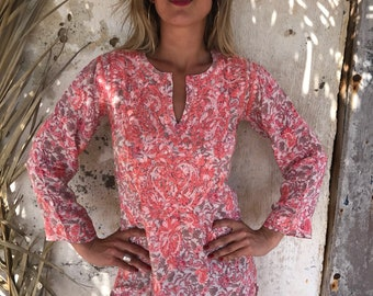 Ibiza style Silk chiffon tunic in rosa & pinky flower design with amazing chikan hand embroidery