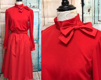 80s Red Bow Taffeta Stretch Poly Career Dress Matching Petticoat