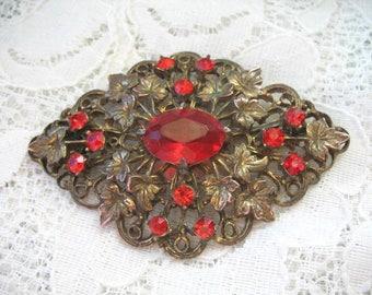 Vintage Rhinestone Sash Pin ~ RED