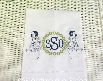 Double Monkey Chinoiserie, Monkey Embroidery, Linen Guest Towel, Hostess Gift, Newlywed Gift, Housewarming Gift, Bar Cart